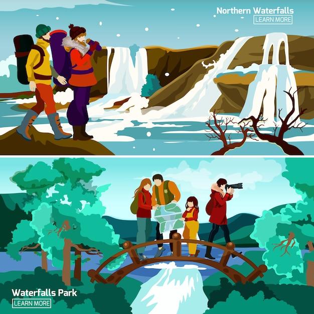Wasserfall landschaften kompositionen Kostenlosen Vektoren