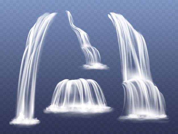 Wasserfall- oder wasserkaskadenillustration. lokalisierter realistischer satz des fallens des fließenden stroms Kostenlosen Vektoren