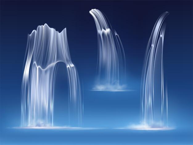 Wasserfallkaskade, realistische wasserfallströme stellten von der reinen flüssigkeit mit nebel von verschiedenen formen ein. fluss, brunnenelement für design, natur realistische illustration des vektors 3d Kostenlosen Vektoren
