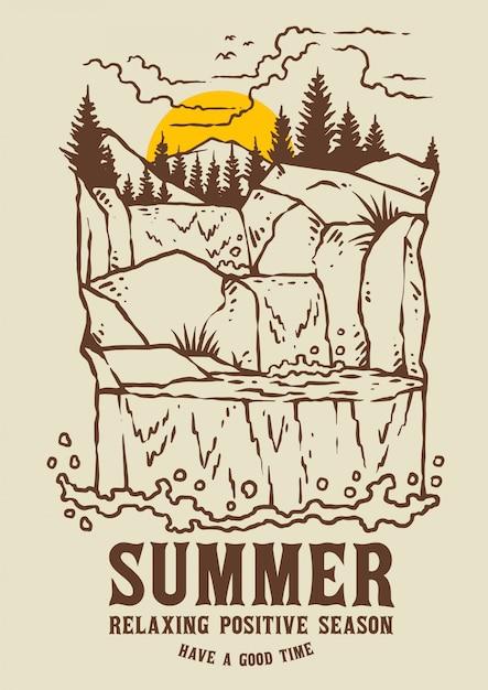 Wasserfalllandschaft mit sonnenuntergang am sommer Premium Vektoren