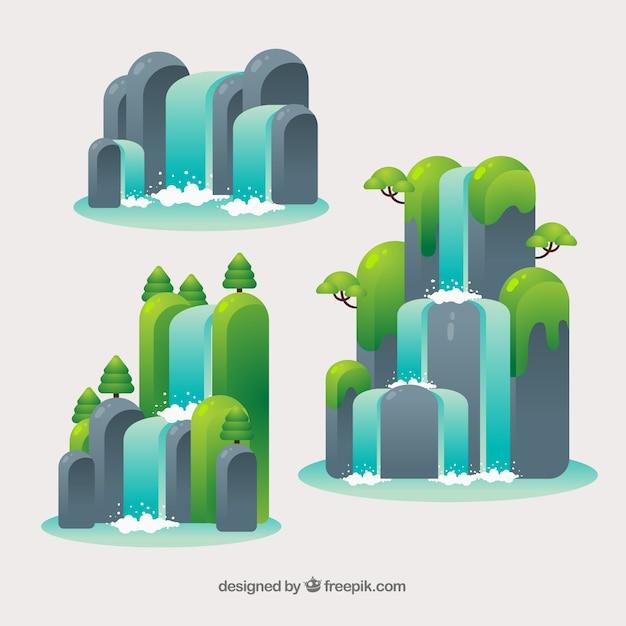 Wasserfallsammlung in der karikaturart Kostenlosen Vektoren