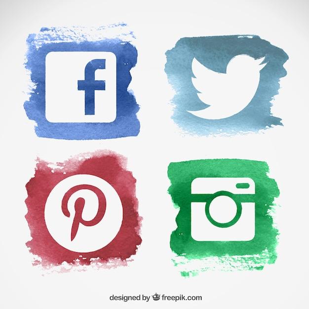 Wasserfarbe auf Social-Media-Logos Kostenlose Vektoren