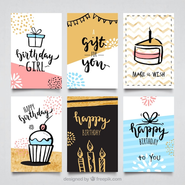 Wasserfarbe Geburtstagskarten collectio | Download der kostenlosen ...