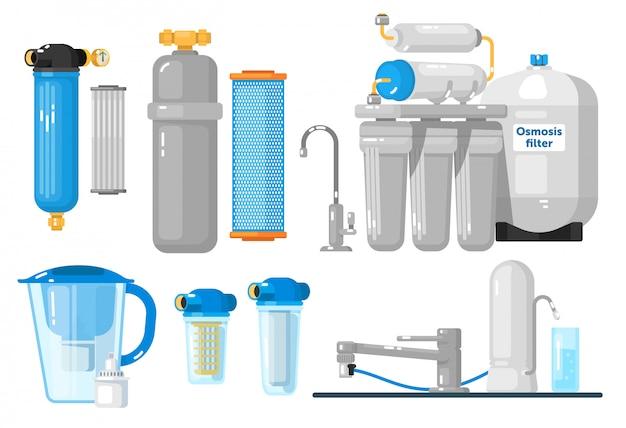 Wasserfilter. arbeitsplatte, unterbau, krugbehälter, ganzes haus, umkehrosmose-wasserfilter eingestellt. natürliche süßwasserreinheit. sammlung von mineralfiltrations- oder reinigungssystemen Premium Vektoren