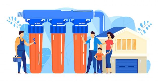 Wasserfilter-installationsillustration, karikatur-flachweinarbeiter des reparaturmanns, der umkehrosmose-filtersystem installiert Premium Vektoren