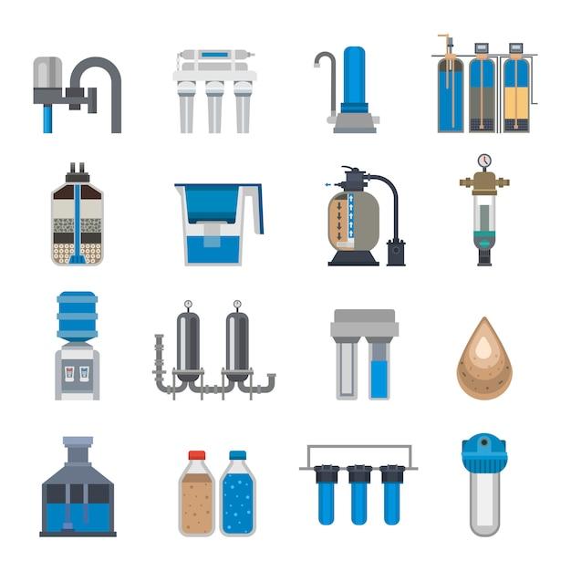 Wasserfilter-set Premium Vektoren