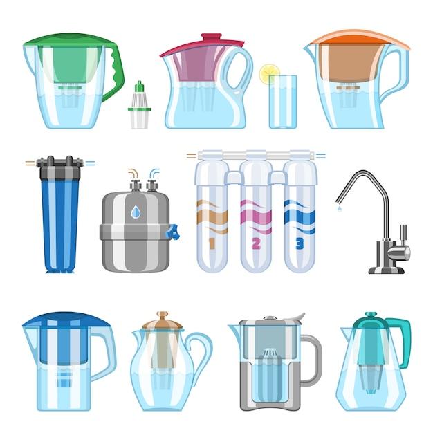 Wasserfilterfilter sauberes getränk und gefilterte oder gereinigte flüssigkeit illustrationssatz der mineralfiltration oder -reinigung, um aqua auf weißem hintergrund zu klären Premium Vektoren