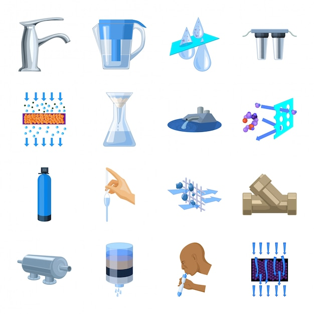 Wasserfiltrationssystem cartoon gesetztes symbol. abbildung filtrationssystem. isolierte cartoon set symbol wasserfiltration. Premium Vektoren