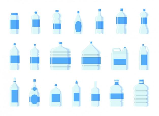 Wasserflaschen aus kunststoff Premium Vektoren