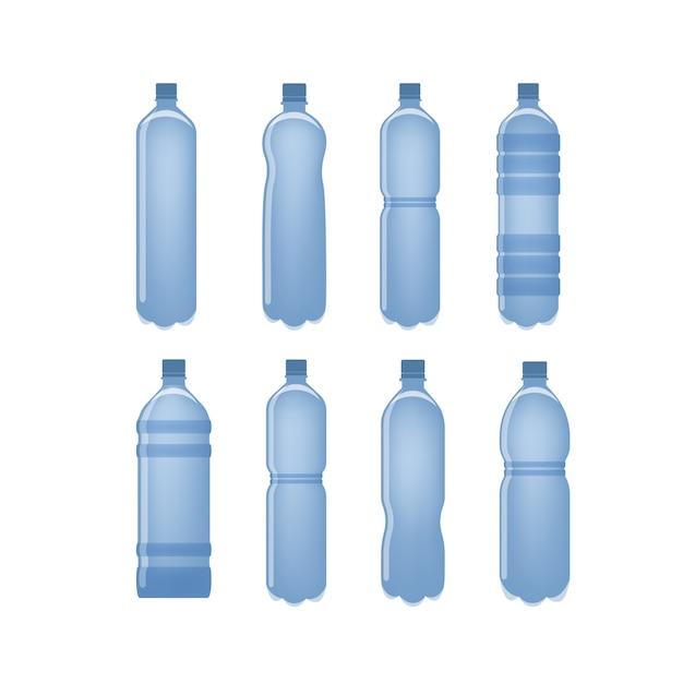 Wasserflaschen zum trinken von flüssigkeiten auf weiß eingestellt. Premium Vektoren