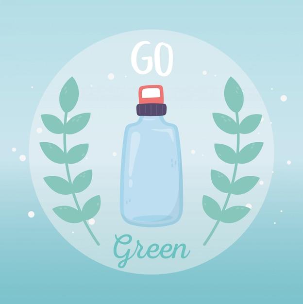 Wasserflaschenrecycling gehen grüne umweltökologie Premium Vektoren