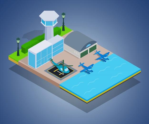 Wasserflughafenkonzept Premium Vektoren