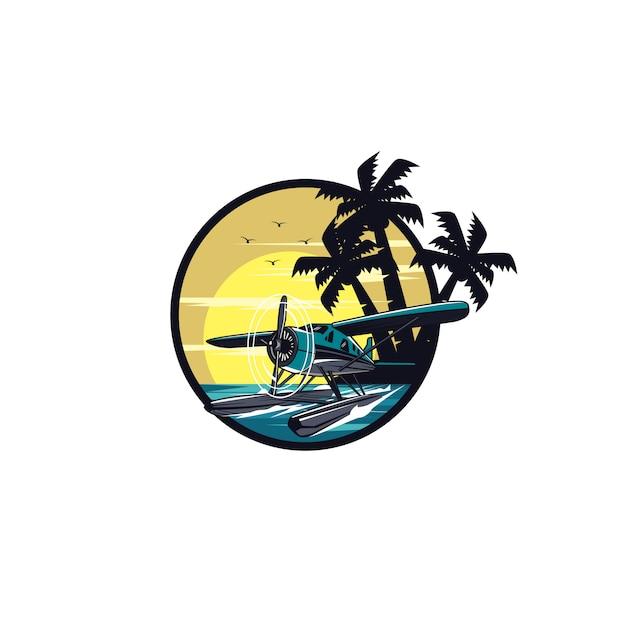 Wasserflugzeug und palm beach Premium Vektoren