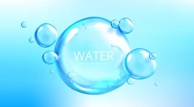 Wasserhintergrund mit luftblasenkugeln Kostenlosen Vektoren