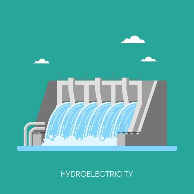Wasserkraftwerk und fabrik. industrielles konzept der wasserkraft, illustration in der flachen art. wasserkraftwerk hintergrund. erneuerbaren energiequellen. Premium Vektoren