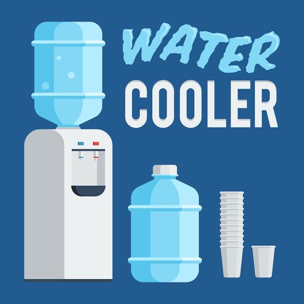 Wasserkühler, flasche und tasse Premium Vektoren