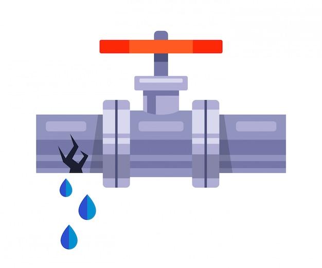 Wasserleckage aus einem eisenrohr auf weißem grund. flache illustration Premium Vektoren