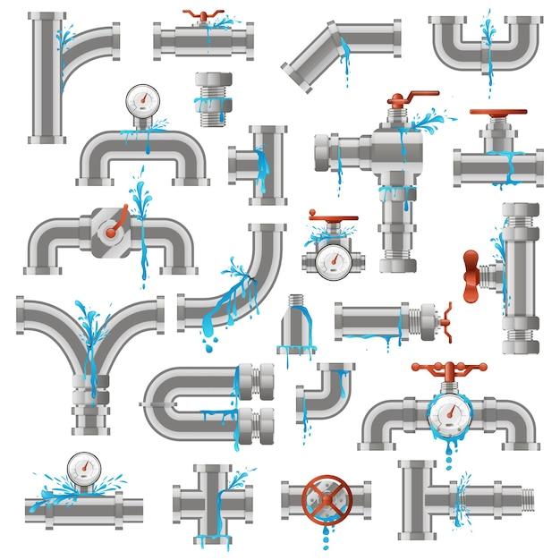 Wasserleitungsleck. beschädigte metallrohre gebrochen, rohr undichter riss, industriemetallrohrrohre beschädigen illustrationssymbole. rohrversorgung, undichte rohrleitungen, beschädigt und undicht Premium Vektoren