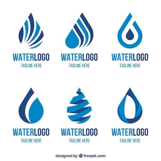 Wasserlogosammlung für firmen in der flachen art Kostenlosen Vektoren