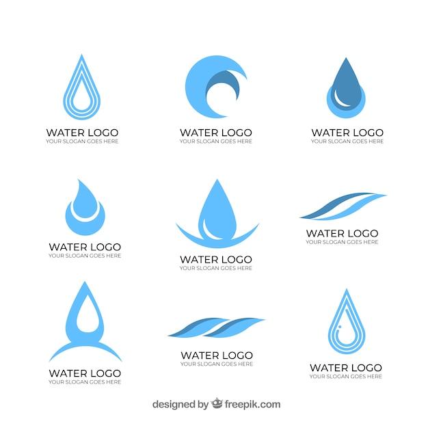 Wasserlogosammlung für firmen Kostenlosen Vektoren
