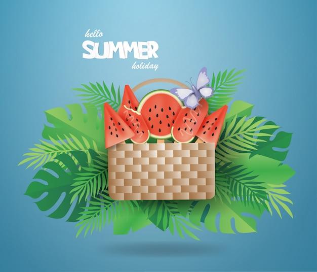 Wassermeloneis im korb auf sommer auf grünem hintergrund. Premium Vektoren