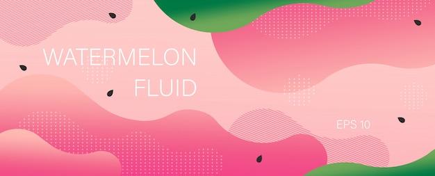 Wassermelonen-banner in flachen wellen und locken Kostenlosen Vektoren
