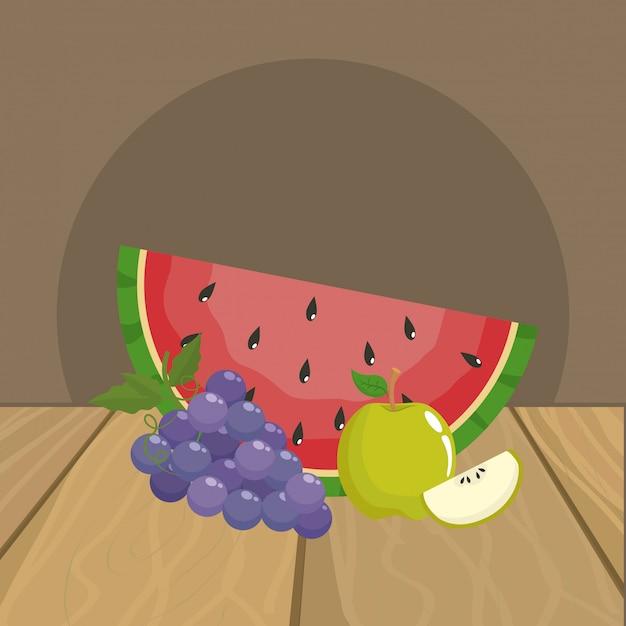 Wassermelonen-trauben und apfel Premium Vektoren