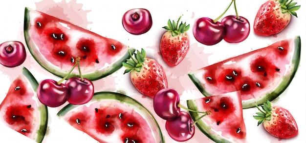 Wassermelonen- und kirschaquarell Premium Vektoren