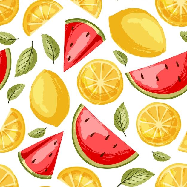 Wassermelonen- und zitronenmuster Premium Vektoren