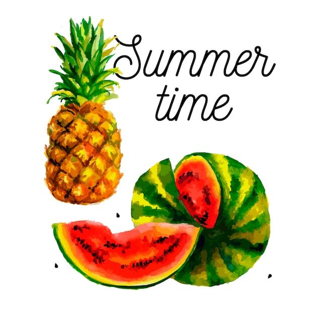 Wassermelonenananas zum drucken. buntes essensset. süße frucht. vektorfarbillustration. aquarell modedruck. Premium Vektoren