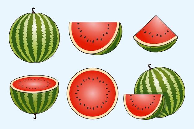 Wassermelonenfruchtset Premium Vektoren