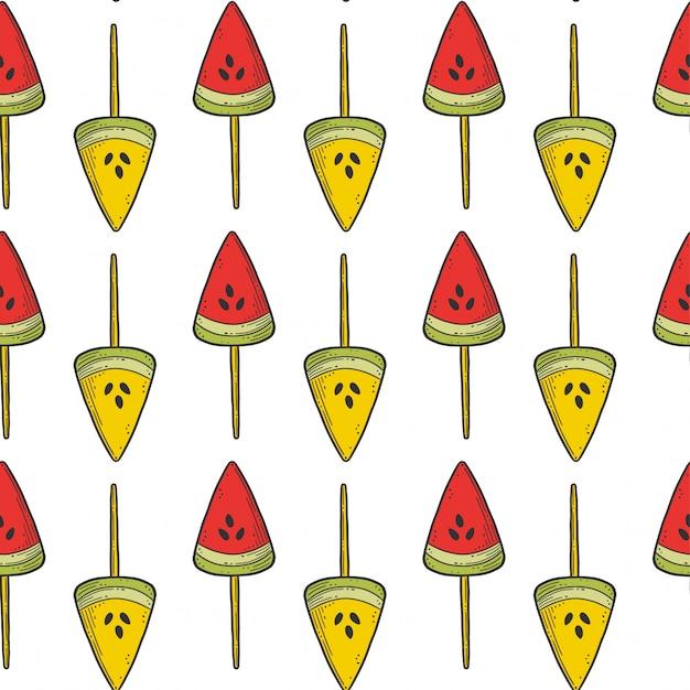 Wassermelonensüßigkeit oder nahtloses muster der eiscreme Premium Vektoren
