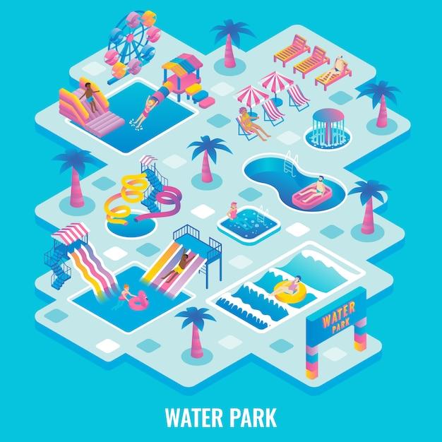 Wasserpark flach isometrisch Premium Vektoren
