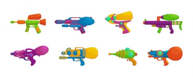 Wasserpistolen-cartoon-set-symbol. isolierte karikaturikonen-wasserpistole. illustration wasserpistole auf weißem hintergrund. Premium Vektoren