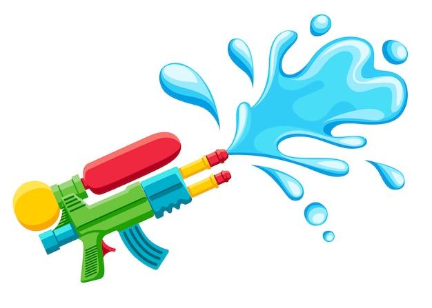 Wasserpistolenillustration. plastiksommerspielzeug. bunt für kinder. pistole mit wasserspritzer. illustration auf weißem hintergrund Premium Vektoren