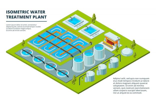 Wasserreinigungsfabrik. abwasserbehandlungs-reinigungsindustrie, die rohrleitungssysteme wässert und isometrische bilder verarbeitet Premium Vektoren