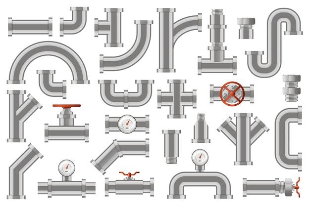 Wasserrohre. metallrohrleitungsbau, industrielle metallrohrrohre mit zählern, ventilen, drehknopfsymbolen gesetzt. rohrmetall und entwässerung, kreuzkonstruktionsabbildung Premium Vektoren