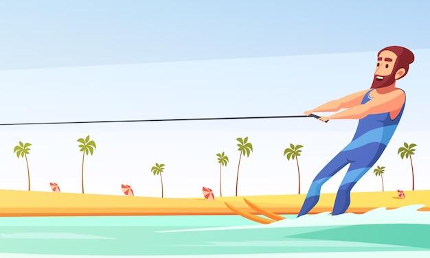 Wasserski fahren Kostenlosen Vektoren