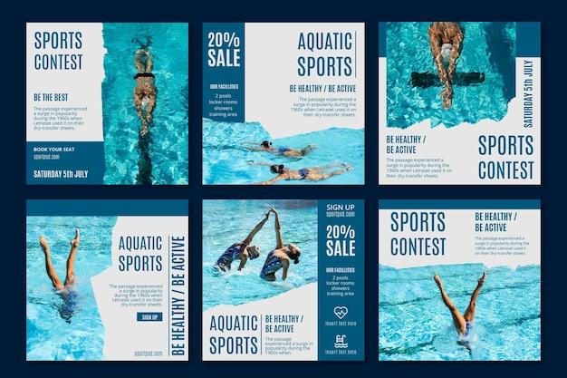 Wassersport instagram beiträge vorlage Kostenlosen Vektoren