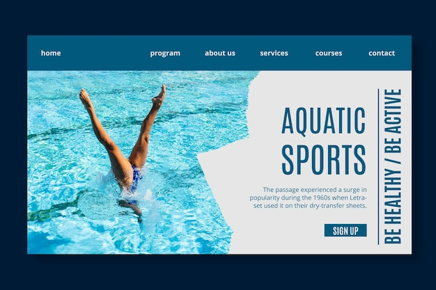 Wassersport landing page vorlage Kostenlosen Vektoren