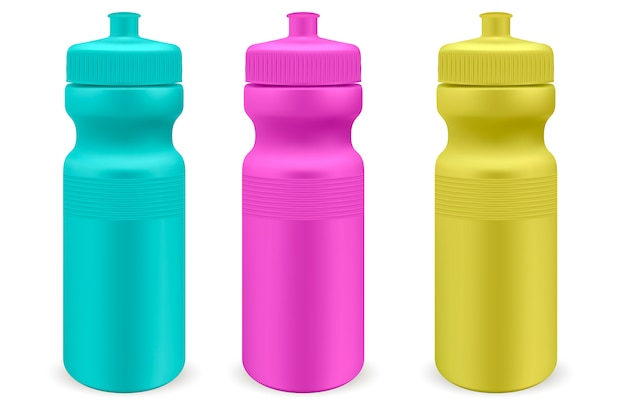 Wassersportflaschen aus mattem kunststoff Premium Vektoren