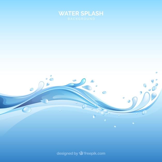 Wasserspritzenhintergrund in der realistischen art Kostenlosen Vektoren