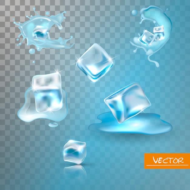 Wasserspritzer und eiswürfel eingestellt. Premium Vektoren