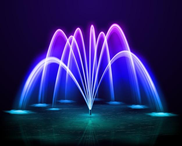 Wasserstrahlbrunnen des schönen bunten tanzens im freien am dunklen nachthintergrunddesign realistisch Kostenlosen Vektoren
