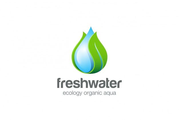 Wassertropfen blatt logo vektor icon. Kostenlosen Vektoren