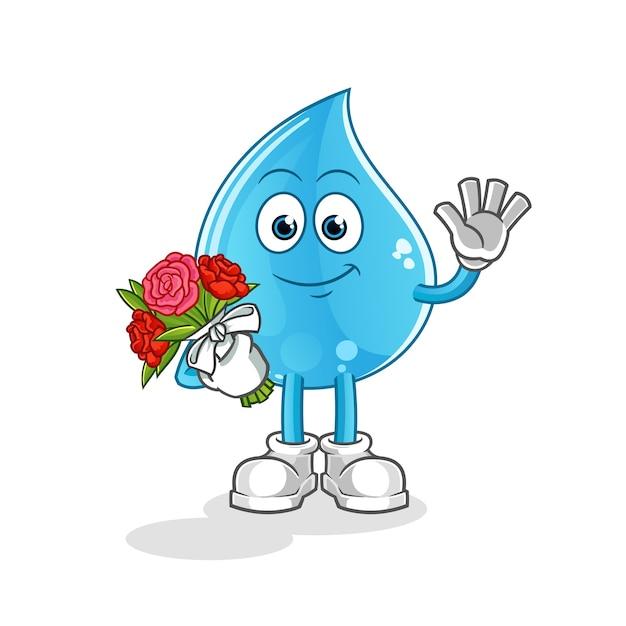 Wassertropfen mit bouquet maskottchen Premium Vektoren
