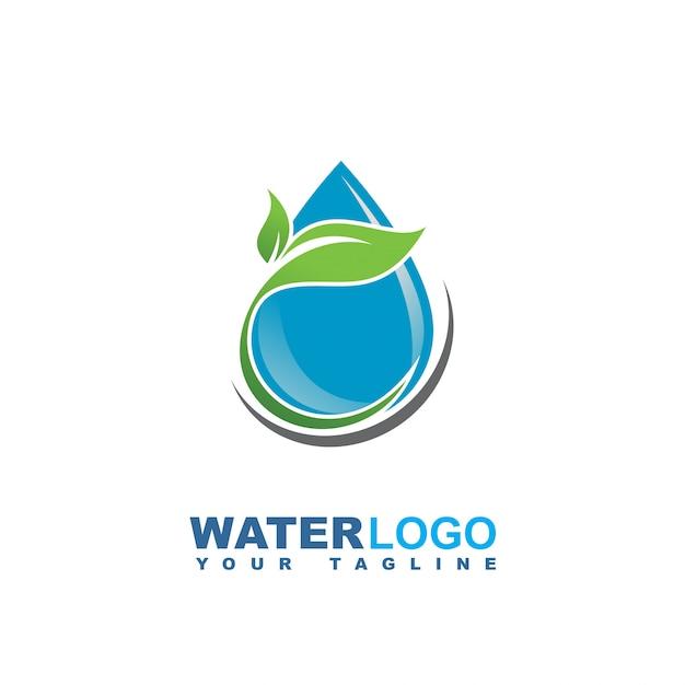 Wassertropfen-vektor-logo mit grünem blatt und hand Premium Vektoren