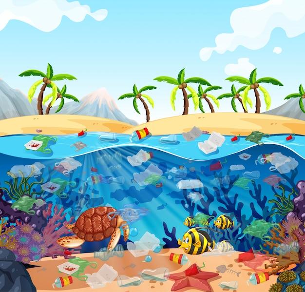 Wasserverschmutzung mit plastiktüten im ozean Kostenlosen Vektoren