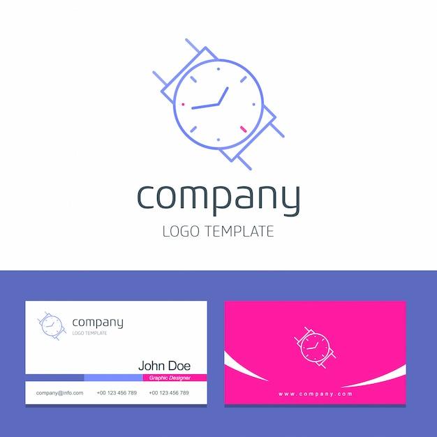 Watch logo und visitenkarte Kostenlosen Vektoren