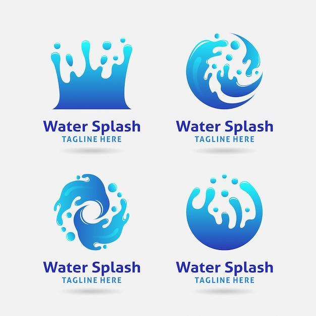 Water splash logo design Premium Vektoren